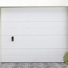 Ворота гаражні секційні Ryterna R40 slick широкий гофр RAL 9016 білий