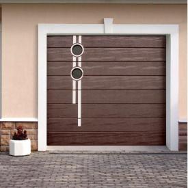 Ворота гаражні секційні Ryterna TLB woodgrain широкий гофр RAL 8017