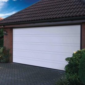 Ворота гаражні секційні Ryterna R40 slick верхня смуга RAL 9016 білий