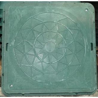 Люк канализационный квадратный А15 710х710 мм зеленый