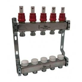 Коллектор стальной IVR 804 с расходомерами и термоклапанами 1 дюйм 1300х200 мм (180422502)