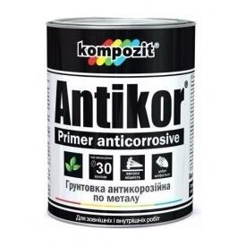 Грунтовка для металла антикоррозионная Kompozit ANTIKOR матовая 15 кг светло-серый