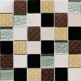 Мозаїка з мармуру і скла VIVACER Mix Beige 300x300 мм