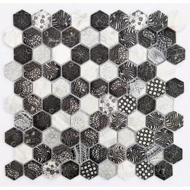 Мозаика мрамор стекло VIVACER SB02 300x300 мм