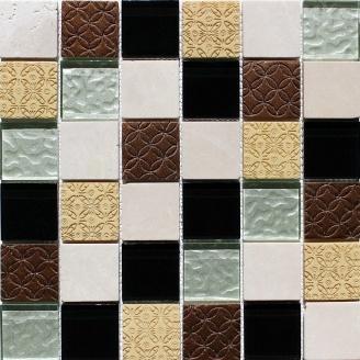 Мозаика из мрамора и стекла VIVACER Mix Beige 300x300 мм