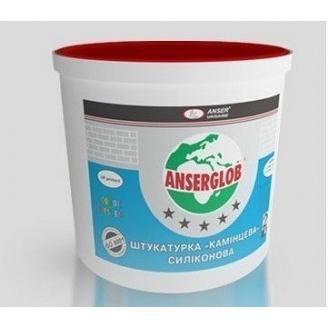 Штукатурка декоративная силиконовая Anserglob камешковая 1,5 мм 25 кг белая