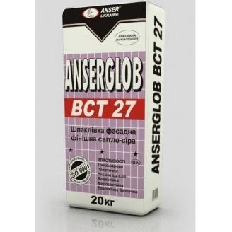Шпаклевка фасадная Anserglob ВСТ 27 финишная 20 кг светло-серая