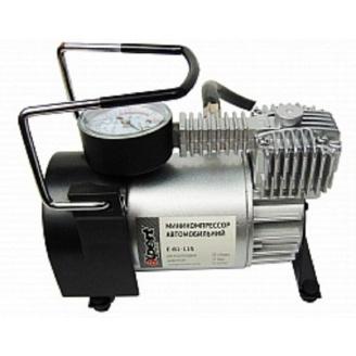 Мини-компрессор автомобильный E-81-115 с набором адаптеров 12 В 11 бар 40 л/мин