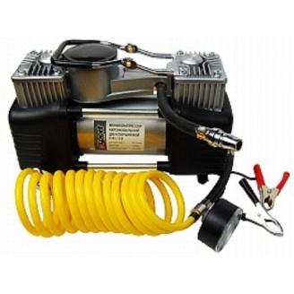 Мини-компрессор автомобильный двухпоршневой E-81-118 с набором адаптеров 12 В 12 бар 60 л/мин
