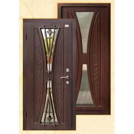 Двери входные Aurelia PRESTIGE-1 со стеклом и ковкой из МДФ Vinorite