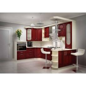 Кухня п-образная красный клен под заказ