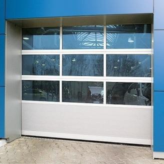 Панорамные ворота Alutech АЛПС 5000х5335х45 мм микроволна Woodgrain