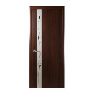 Двери межкомнатные Новый Стиль ПВХ КВАДРА Р Злата 600х2000 мм каштан