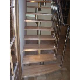 Модульні сходи Тріумф Захід з металевими поручнями і дерев'яними сходами