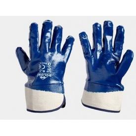 Рукавички робочі масло-бензостойкие х/б з синім гумовим покриттям