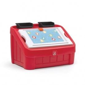 Ящик для игрушек и для творчества BOX & ART 2 в 1 48x78x48 см красный