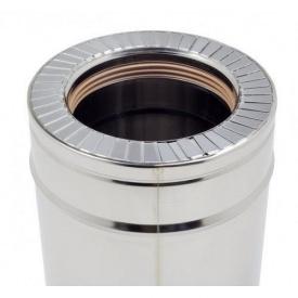 Труба дымоходная двустенная термоизоляционная с нержавеющей стали 0,8x180x250 мм 1 м
