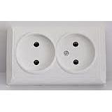 Розетка электрическая двойная без заземляющего контакта РС 10-002 белая