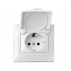 Розетка электрическая с заземляющим контактом с защитной крышкой белая