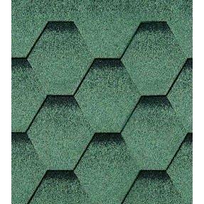 Битумная черепица RoofShield Классик Стандарт 6 зеленый с оттенением