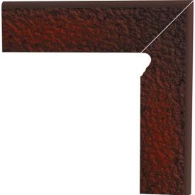 Цоколь двухэлементный Paradyz CLOUD сходовий структурний правий 30х30 см brown duro
