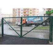 Ворота распашные с сеткой Рубеж