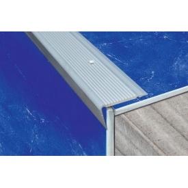 Порог алюминиевый анодированный угловой рифленый 45х22 мм 0,9 м
