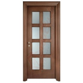 Двери из ольхи DerevBud темные со стеклом 42х800х1900 мм