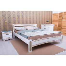 Ліжко МебліЕко Мілана люкс з фрезеруванням 140х200 см слонова кістка (101434)
