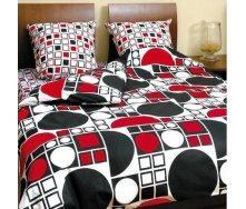 Комплект постельного белья ТЕП 531 Круг черно-красный Полуторный бязь 215х150 см