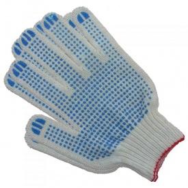 Перчатки трикотажные рабочие белые с точкой ПВХ Стандарт