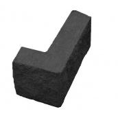Блок декоративный угловой колотой 390х190 мм черный