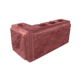 Блок декоративный угловой фасковый 390х190 мм красный
