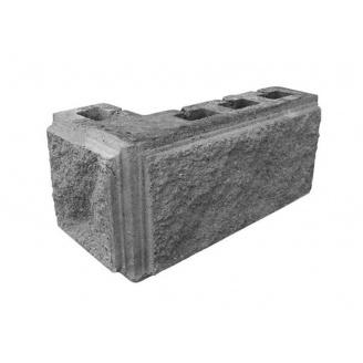 Блок декоративний кутовий з фаскою 390х190 мм сірий