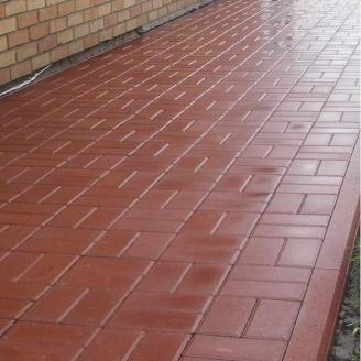 Тротуарная плитка Золотой Мандарин Кирпич стандартный 200х100х80 мм на сером цементе красный