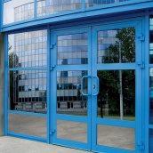 Алюминиевые двери входные НОВЫЙ ПРОЕКТ ГРУПП 2100 мм синий