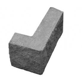Блок декоративный угловой колотый 390х190 мм серый