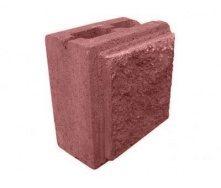 Напівблок декоративний рваний камінь 190х190х90 мм червоний