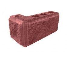 Блок декоративний рваний камінь кутовий з фаскою 390х190х90х190 мм червоний
