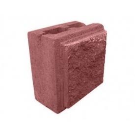 Полублок декоративный рваный камень 190х190х90 мм красный