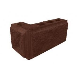 Блок декоративный рваный камень угловой с фаской 390х190х90х190 мм коричневый