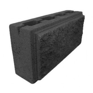 Блок декоративный рваный камень с фаской для забора 390х90х190 мм темно-серый