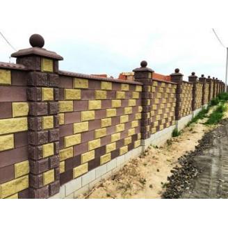 Блок половина декоративний рваний камінь 190х190х90 мм жовтий
