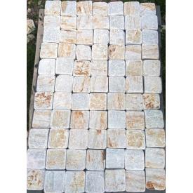 Бруківка Тремоліт катанная 10х10 см біле золото