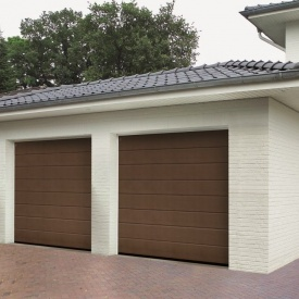 Ворота гаражные секционные Hormann RenoMatic 3000x2250 мм sandgrain RAL 8028 коричневый