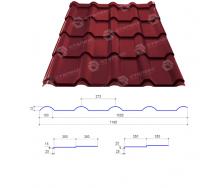 Металлочерепица Сталекс AFINA 350/20 0,45 мм РЕ Китай (Sutor Steel) (RAL3005/винный красный)