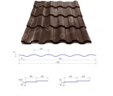 Металлочерепица Сталекс VALENCIA 400/20 0,50 мм PEMA Германия (Acelor Mittal) (RAL8017/шоколадный)