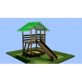 Деревянный детский домик-площадка c горкой и песочницей