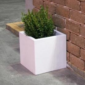 Бетонна ваза Золотий Мандарин Куб великий 330х330х330 мм біла