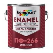 Эмаль для пола Kompozit ПФ-266 12 кг красно-коричневый